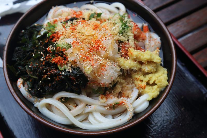Delicious Japanese Vegetarian Udon noodle with soup stock photo