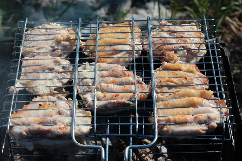 Delicious juicy chargrilled shashlik or marinated meat on grill barbecue on barbecue grill, view from above, close-up.  royalty free stock photos