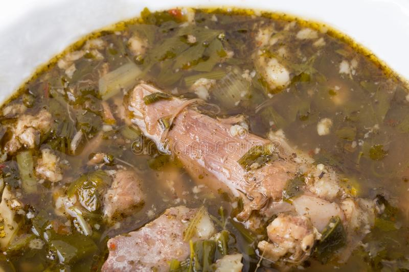 Delicious lamb soup with spinach stock image