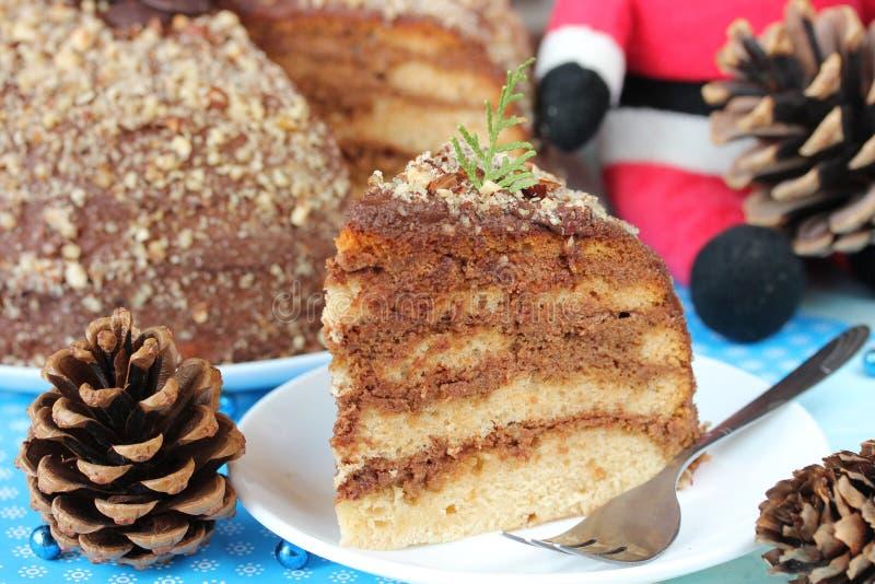Delicious layered Christmas cake with chocolate caramel cream stock image