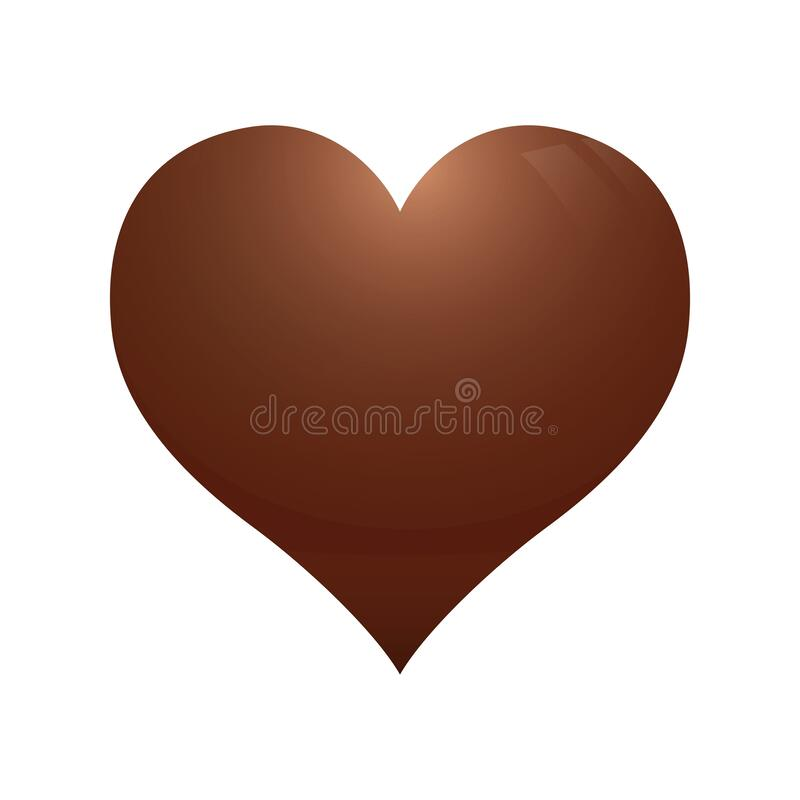 Delicious love. Chocolate heart on white. stock photos