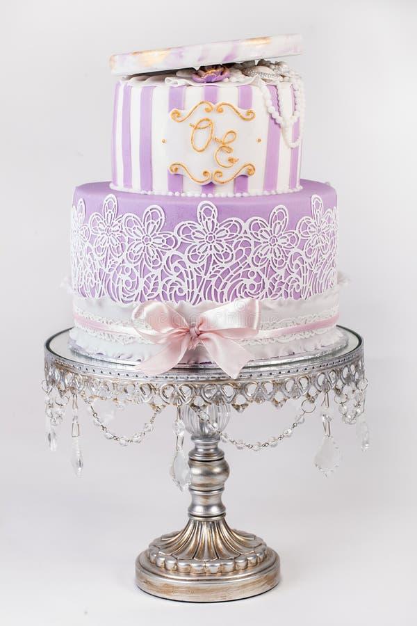 Delicious Luxury White Wedding Or Birthday Cake Stock Image Image