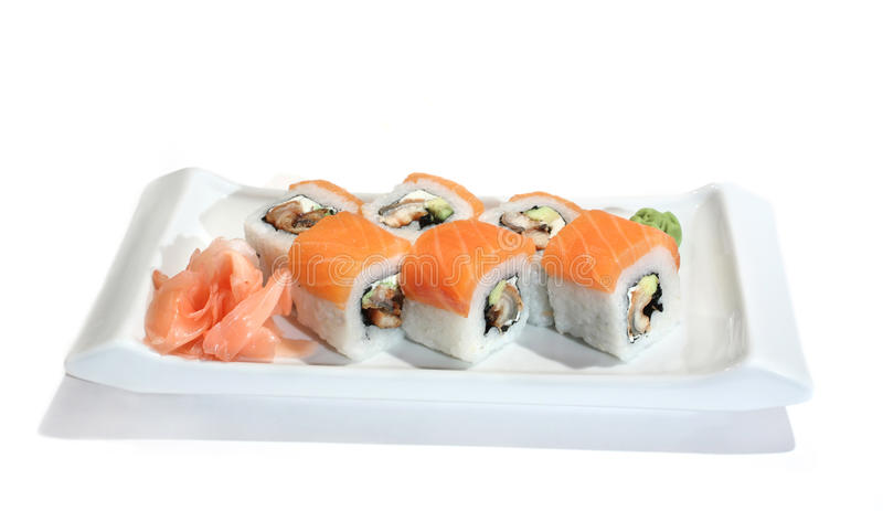 Delicious maki sushi with salmon, avocado and eel stock photo