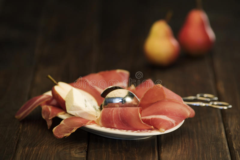 Delicious meal on rustic table stock photos