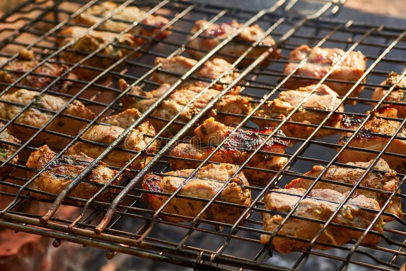 Delicious meat, grilled on charcoal in steel grating royalty free stock photos