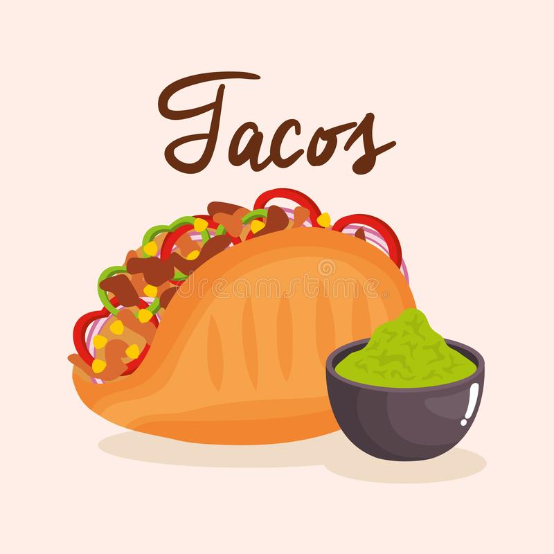 Delicious mexican tacos with sauces vector illustration