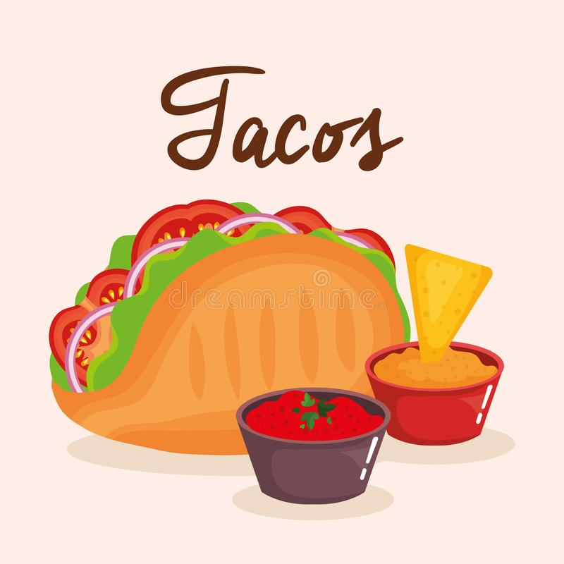 Delicious mexican tacos with sauces stock illustration
