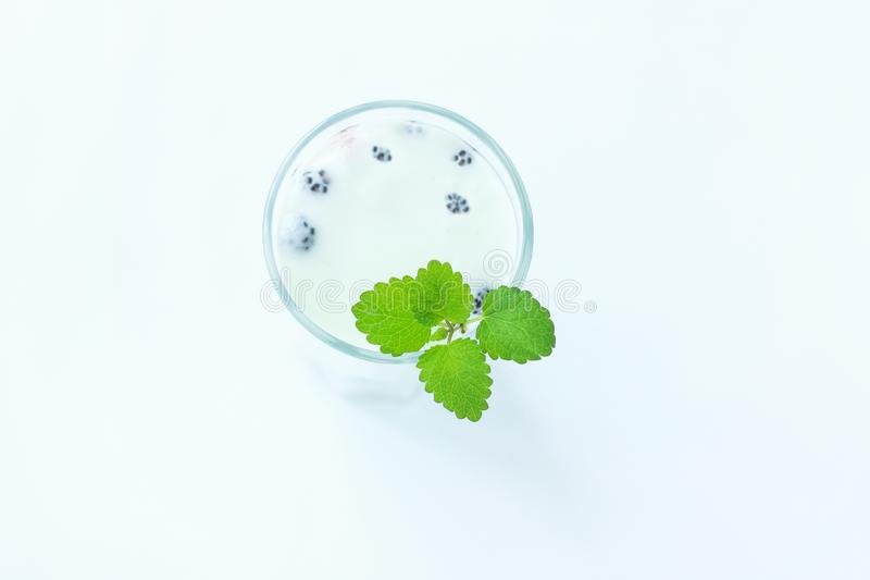Cooled milk jello treat in a glass with green mint leaves on a white wooden background, copy space, top view royalty free stock photography