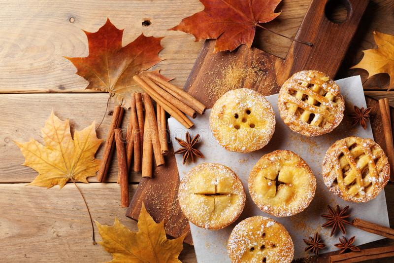 Delicious mini apple pies on rustic wooden table. Autumn pastry desserts. Delicious mini apple pies on wooden table. Autumn pastry desserts royalty free stock photo