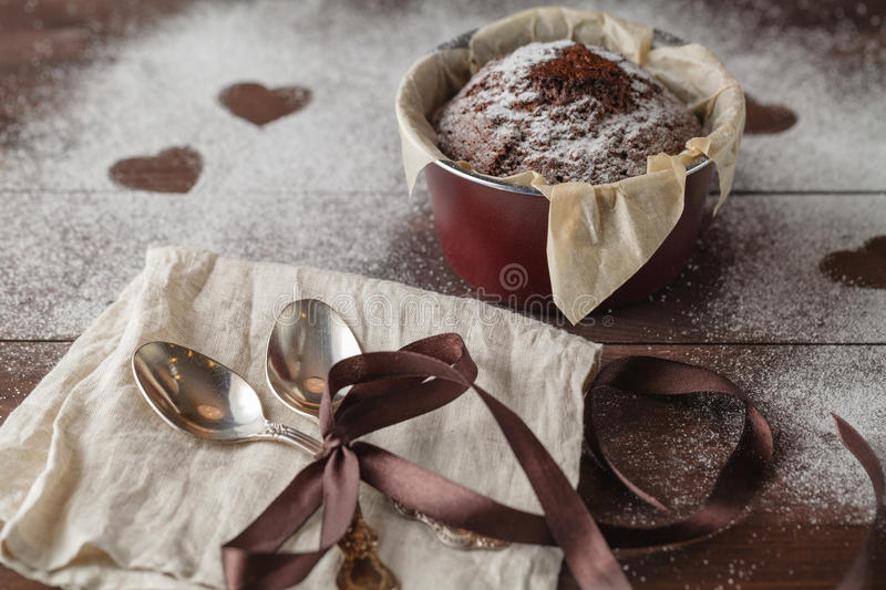 Delicious Mothers day chocolate cupcakes stock photos