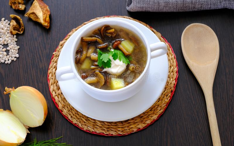Delicious mushroom soup with parsley close-up on the table. Horizontal top view. stock photos