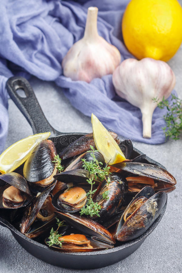 Delicious mussels in shells in lemon-garlic dressing stock image