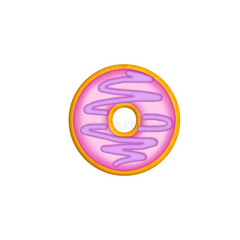 Delicious number 0. The number donut in colored glaze and sprinkling. royalty free illustration