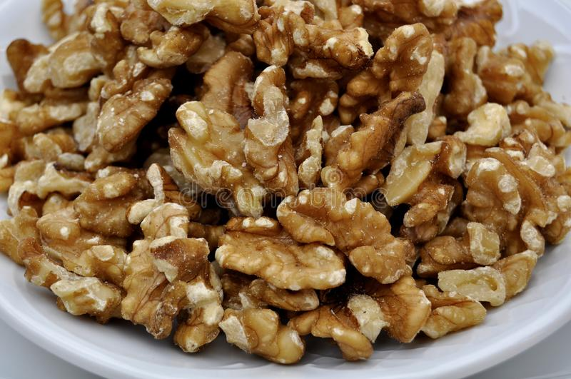 Pieces of dried nuts royalty free stock photos