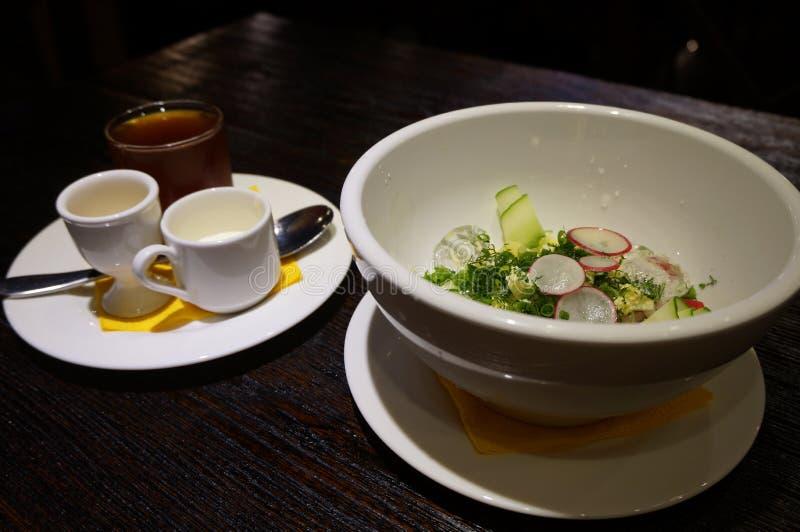 Delicious okroshka in a cafe stock photography