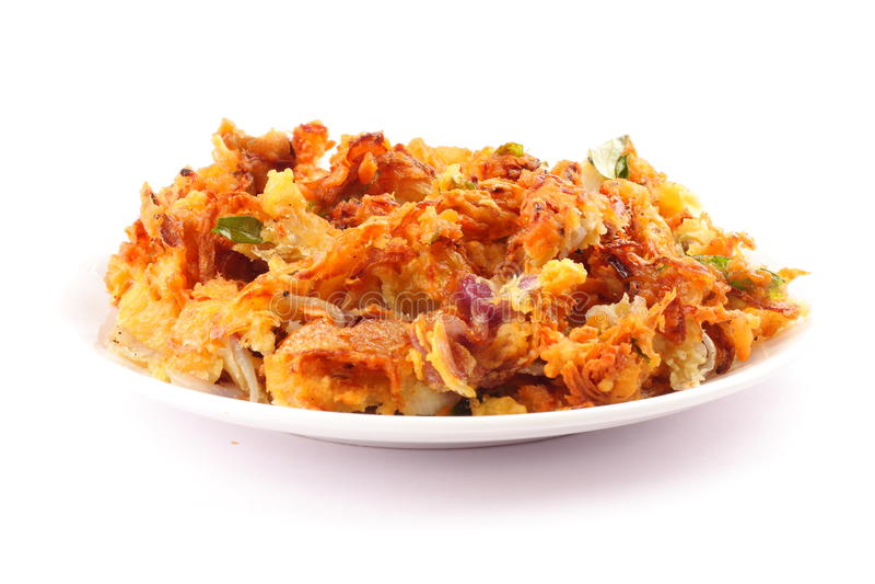 Delicious onion pkkoda. Indian spicy onion pkkoda or pakoras stock images