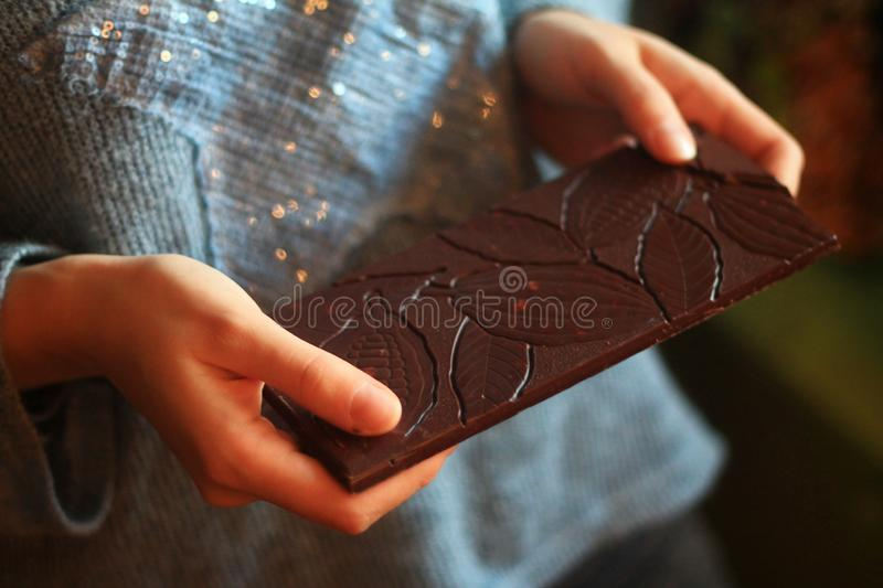 Delicious organic chocolate with original design.  royalty free stock images