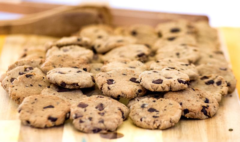 Delicious organic cookies with chocolate chips royalty free stock image