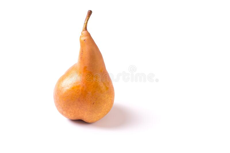 Delicious organic ripe pear isolated and with copy space stock photo