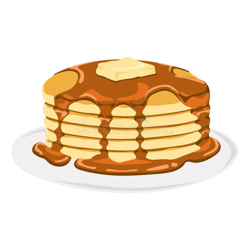 Delicious Pancake with Syrup. Isolated vector delicious pancake with maple syrup in a plate royalty free illustration