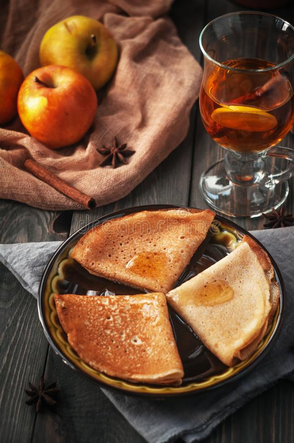 Pancakes with fillings. A treat for tea. royalty free stock image