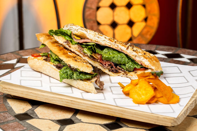 Delicious Panini Black Forest. Details royalty free stock images