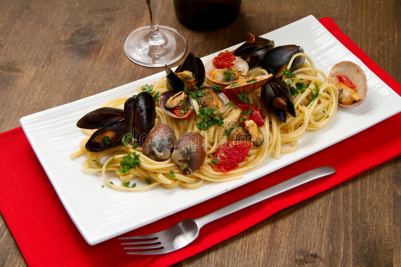 Delicious Pasta With Clams Stock Photo