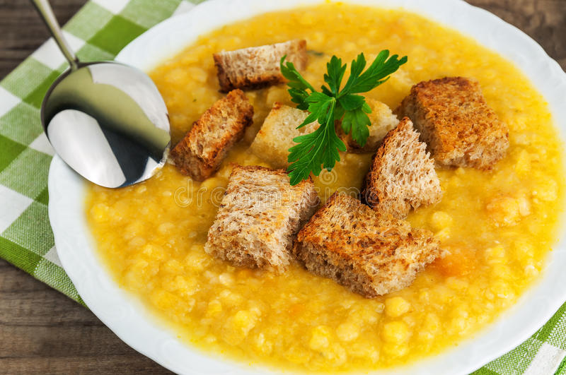 Delicious pea soup royalty free stock images