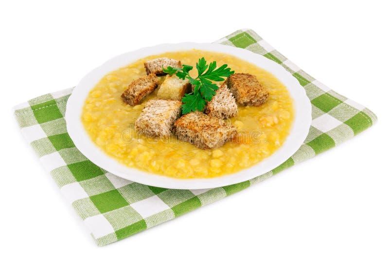 Delicious pea soup stock photos