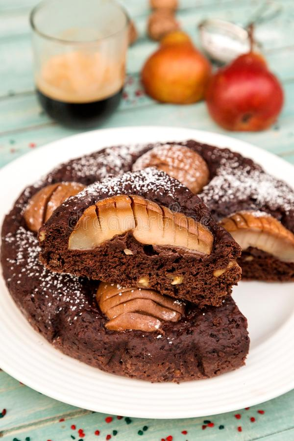 Delicious Pear and chocolate cake stock images