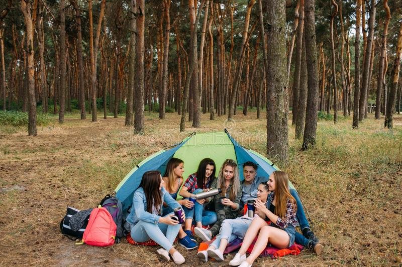 Delicious picnic food and drink tourist friends royalty free stock photo
