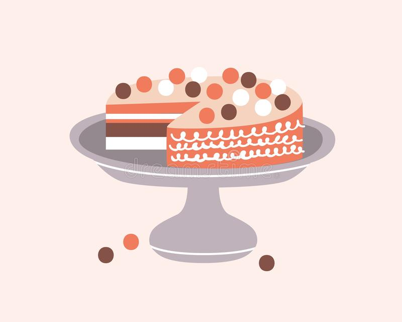 Delicious pie decorated with icing on cake stand isolated on light background. Tasty dessert, confection or sweet pastry. Decorative design element in hygge vector illustration
