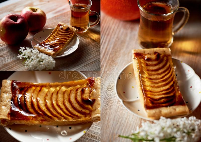 A delicious piece of Apple pie, red apples.Tea party. Collage. A delicious piece of Apple pie, red apples. Tea party stock images