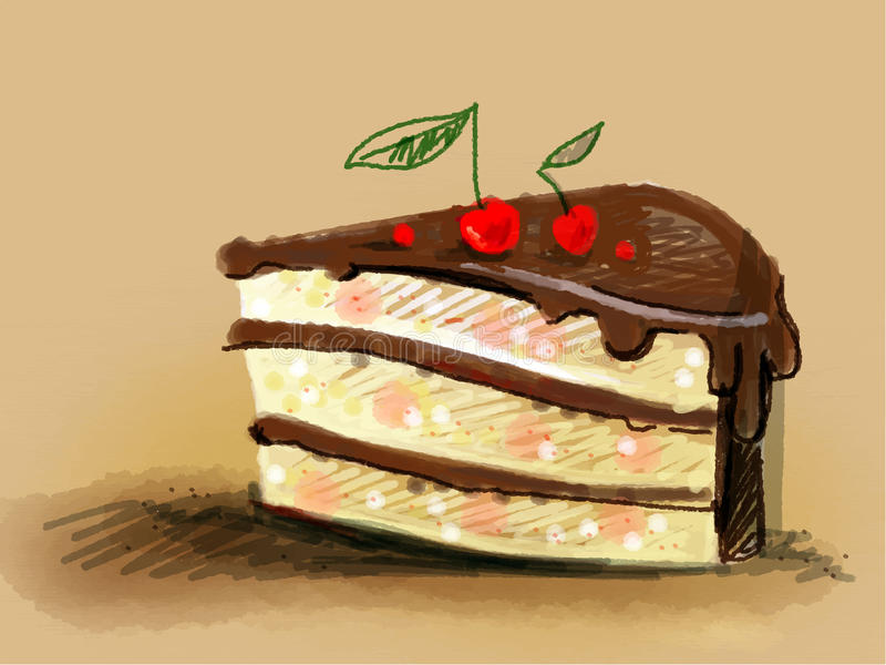 Delicious piece of cake. Vector delicious piece of cake drawn with colored pencils. Illustration for a menu, a cafeteria, an example of a banner or background stock illustration