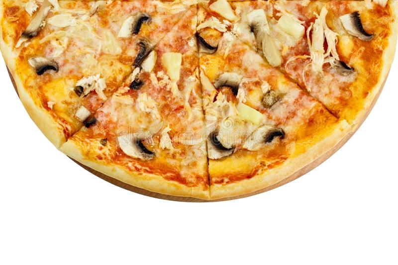 Delicious pizza with chicken mushrooms mozzarella pineapple on a wooden board on an isolated white background stock photos
