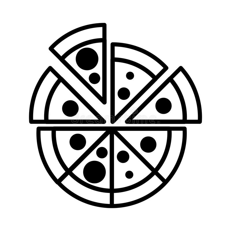 Delicious pizza isolated icon vector illustration design. Italian pizza isolated icon vector illustration design royalty free illustration