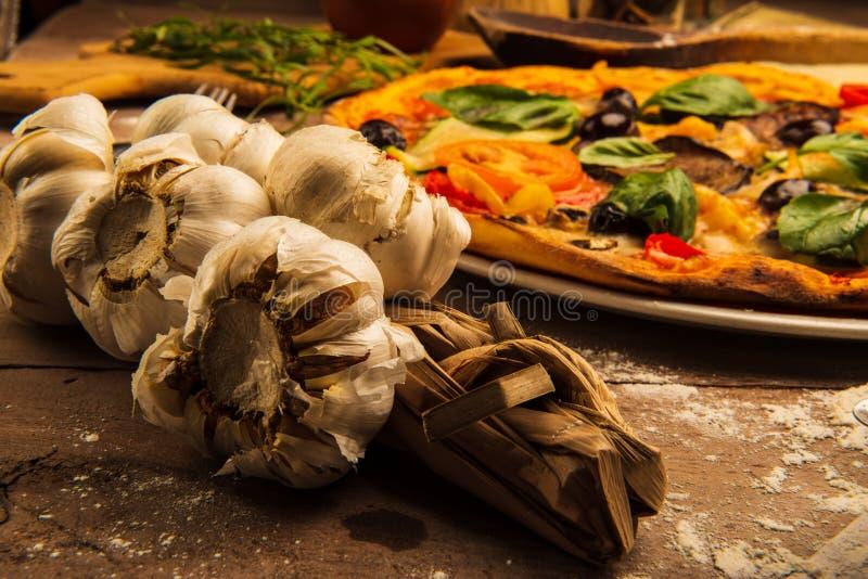 Pizza and Garlic royalty free stock photos