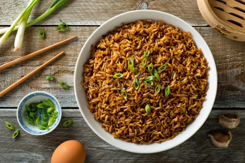 Plain Fried Rice. Delicious plain fried rice green onion garnish stock images