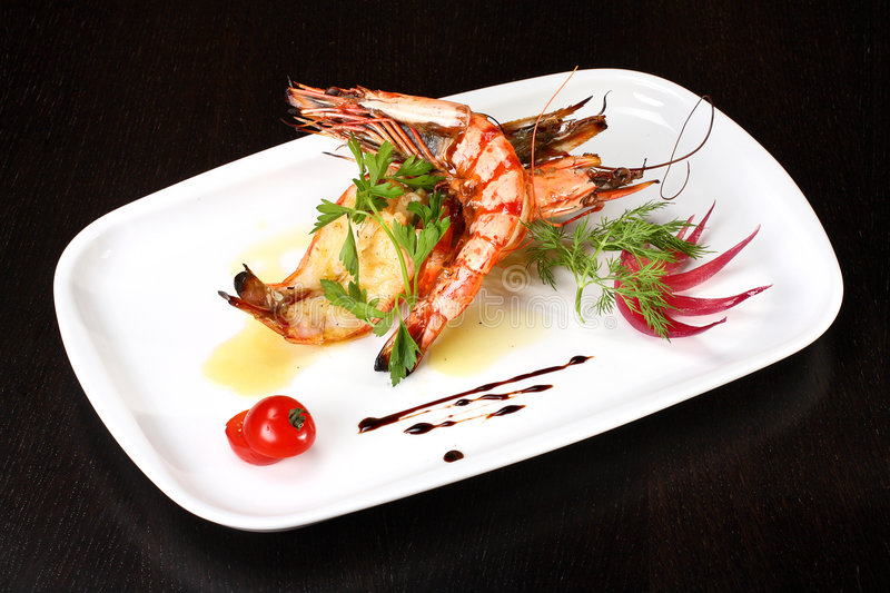 Delicious plate of prawns royalty free stock photo