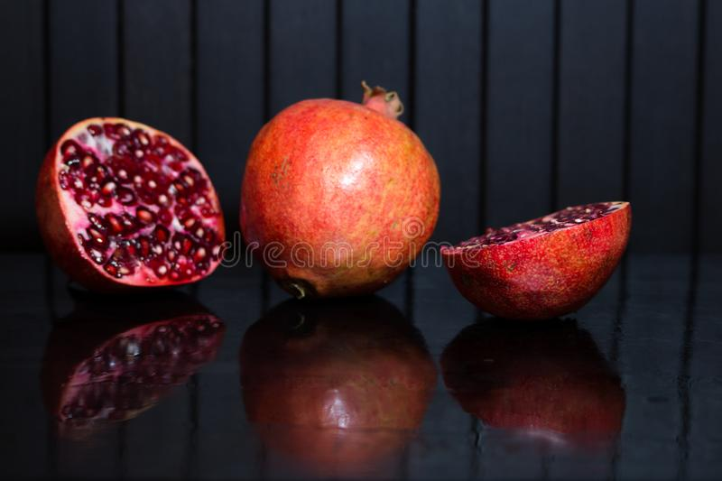Delicious pomegranate seeds. Juicy Ripe Red Granets or Garnets.  Closeup view of Grain Red Grenades. stock image
