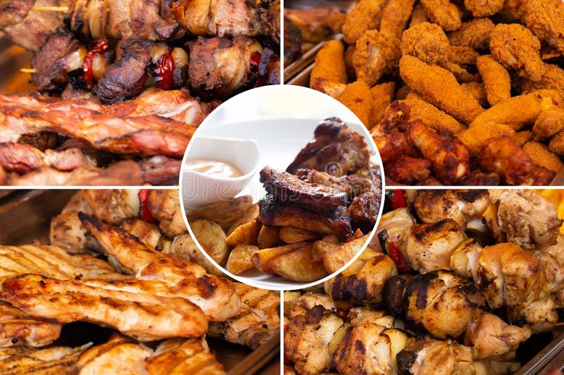 Food collage. Delicious pork cooked food collage with European cuisine closeup on a dining table royalty free stock photography