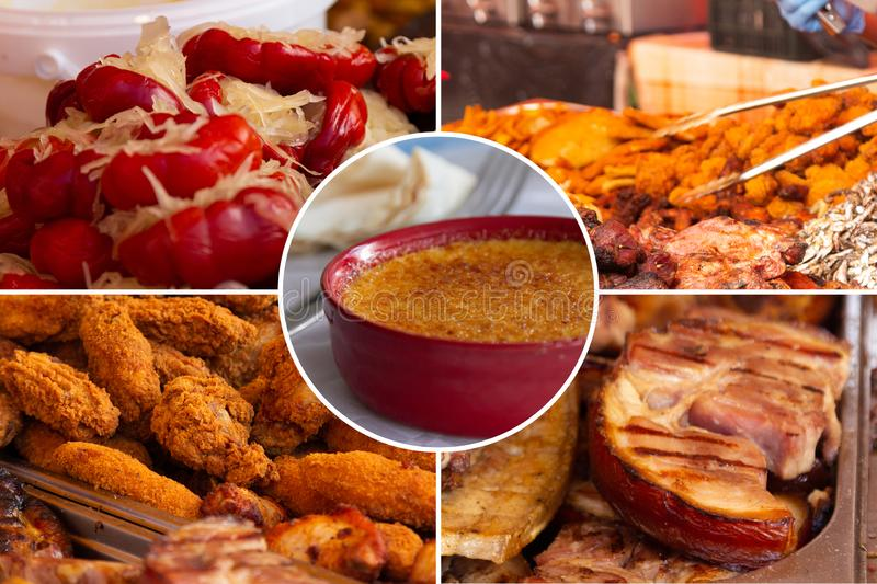 Food collage. Delicious pork cooked food collage with European cuisine closeup on a dining table stock image