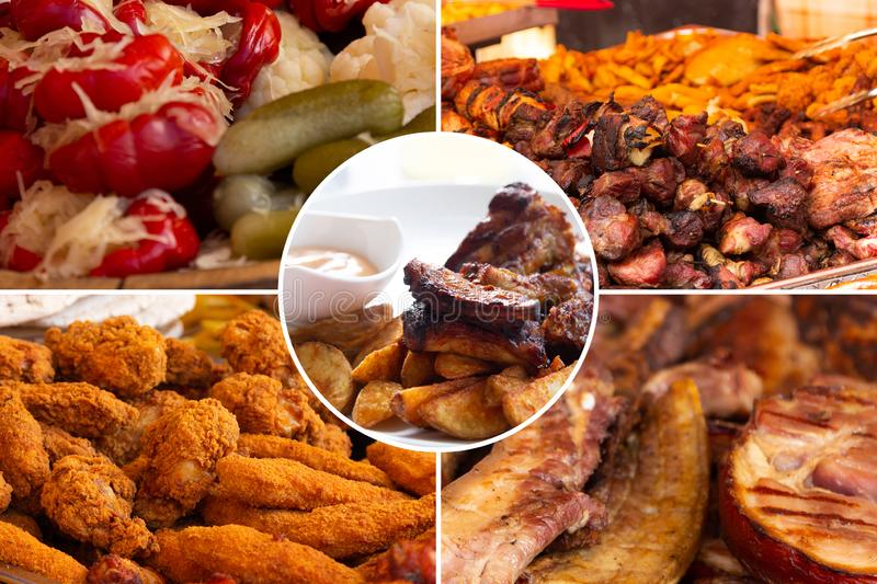 Food collage. Delicious pork cooked food collage with European cuisine closeup on a dining table stock photography