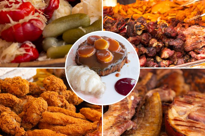 Food collage. Delicious pork cooked food collage with European cuisine closeup on a dining table royalty free stock photo