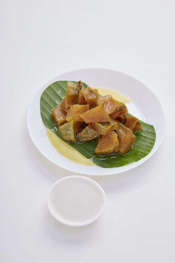 Thai dessert food with Pumpkin in syrup royalty free stock image