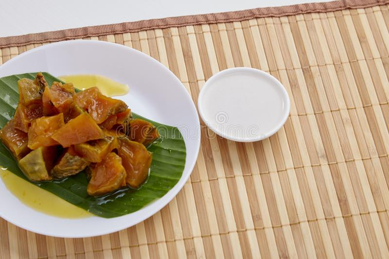 Thai dessert food with Pumpkin in syrup stock images