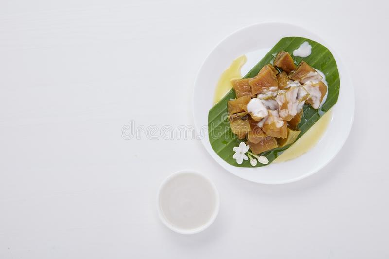 Thai dessert food with Pumpkin in syrup stock image