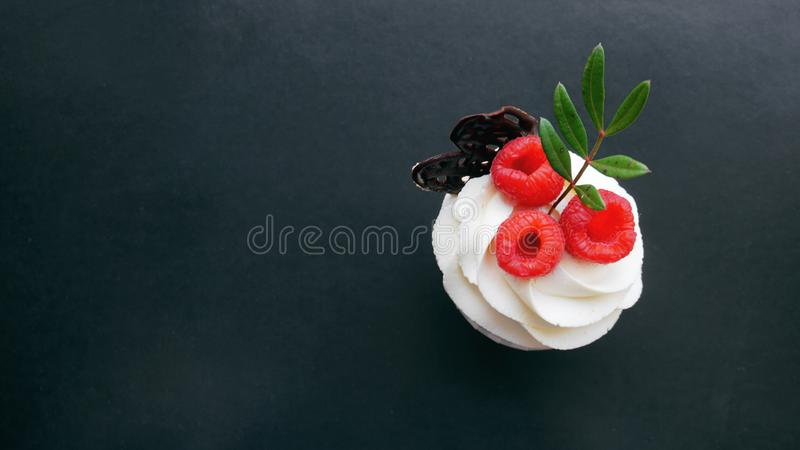 Delicious raspberry cupcakes on dark background. Handmade Sweet dessert, cupcake with butter cream and raspberry royalty free stock image