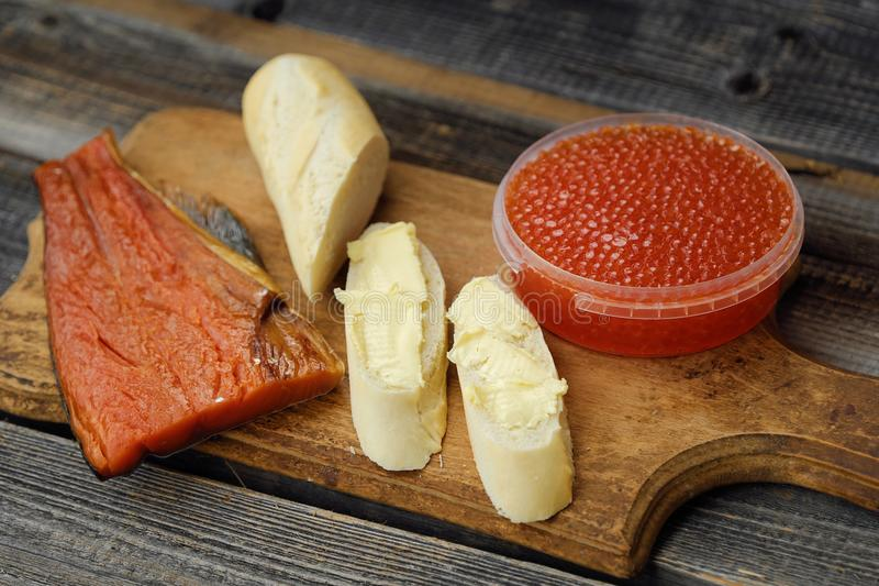 Delicious red caviar and fish seafood from Russia. View stock photo
