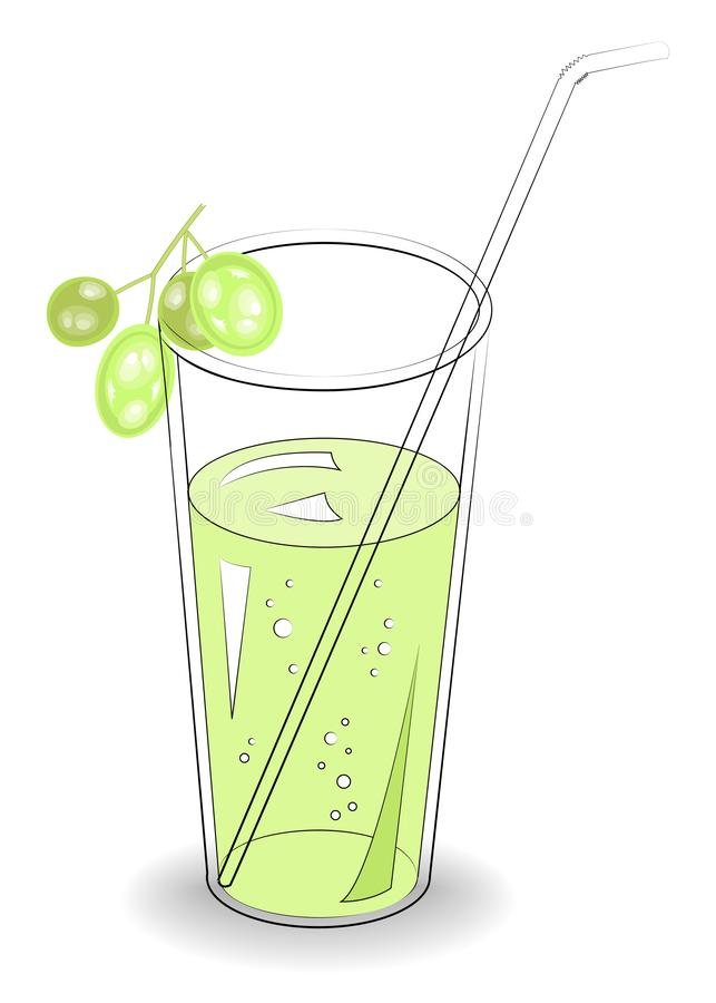 Delicious refreshing drink. In a glass of natural fruit juice, berries of white grapes. Vector illustration.  vector illustration